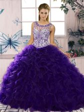 Purple Scoop Lace Up Beading and Ruffles Sweet 16 Dresses Sleeveless