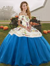 Gorgeous Blue And White 15th Birthday Dress Military Ball and Sweet 16 and Quinceanera with Embroidery Off The Shoulder Sleeveless Lace Up