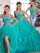 On Sale Aqua Blue Three Pieces Tulle Off The Shoulder Sleeveless Beading and Ruffles Lace Up Quinceanera Dress Brush Train