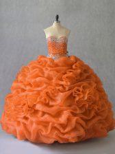 Custom Design Sweetheart Sleeveless Organza Sweet 16 Dress Beading and Pick Ups Lace Up