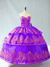 Purple Ball Gowns Sweetheart Sleeveless Organza Floor Length Lace Up Embroidery and Ruffled Layers Quince Ball Gowns