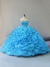 Low Price Organza Sleeveless Vestidos de Quinceanera Court Train and Beading and Pick Ups and Hand Made Flower