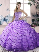 Lavender Ball Gowns Beading and Ruffled Layers Ball Gown Prom Dress Lace Up Organza Sleeveless Floor Length