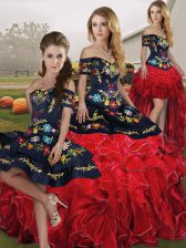 Popular Sleeveless Organza Floor Length Lace Up Sweet 16 Dress in Red And Black with Embroidery and Ruffles