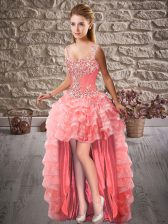 High Low A-line Sleeveless Watermelon Red Homecoming Dress Lace Up