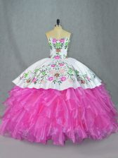 Embroidery and Ruffles Quinceanera Gowns Lilac Lace Up Sleeveless Floor Length