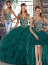Sleeveless Floor Length Beading and Ruffles Lace Up Quince Ball Gowns with Peacock Green