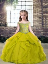 Olive Green Tulle Lace Up Off The Shoulder Sleeveless Floor Length Evening Gowns Beading