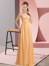 Extravagant Orange Empire Sweetheart Sleeveless Chiffon Floor Length Lace Up Beading Dress for Prom