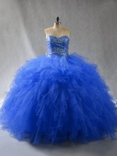 Beautiful Sweetheart Sleeveless Tulle Sweet 16 Quinceanera Dress Beading and Ruffles Lace Up