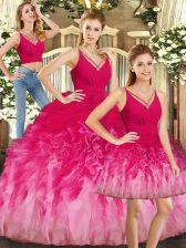 Multi-color V-neck Backless Ruffles Quinceanera Gowns Sleeveless
