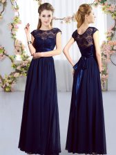 Navy Blue Chiffon Zipper Quinceanera Dama Dress Cap Sleeves Floor Length Lace and Belt