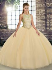 Gold Sleeveless Tulle Lace Up Quinceanera Gown for Military Ball and Sweet 16 and Quinceanera