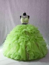 Sexy Brush Train Ball Gowns Sweet 16 Dresses Scoop Organza Sleeveless Zipper