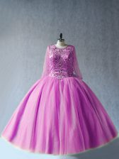 Lilac Long Sleeves Floor Length Beading Lace Up 15th Birthday Dress