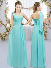 Dazzling Aqua Blue Lace Up Court Dresses for Sweet 16 Hand Made Flower Sleeveless Floor Length