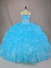 Sophisticated Blue Organza Lace Up 15 Quinceanera Dress Sleeveless Floor Length Beading and Ruffles