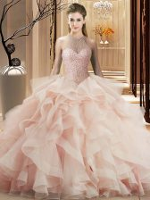 Sweet Pink Lace Up Quinceanera Dress Beading and Ruffles Sleeveless Brush Train