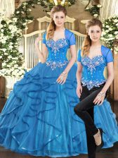Blue Two Pieces Tulle Sweetheart Sleeveless Beading and Ruffles Floor Length Lace Up 15th Birthday Dress