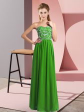 Floor Length Empire Sleeveless Green Prom Party Dress Lace Up