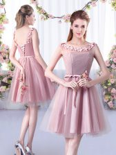 Pink A-line Tulle Scoop Sleeveless Appliques and Belt Knee Length Lace Up Court Dresses for Sweet 16