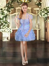 Shining Sleeveless Organza Mini Length Lace Up Prom Party Dress in Light Blue with Beading and Lace and Ruffles