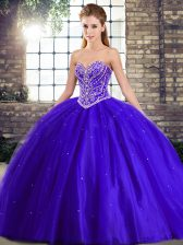 Blue Lace Up Quinceanera Gown Beading Sleeveless Brush Train