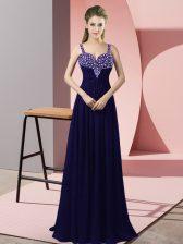 Dramatic Floor Length Purple Dress for Prom Chiffon Sleeveless Beading