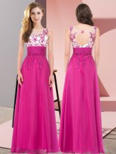 Pretty Fuchsia Empire Scoop Sleeveless Chiffon Floor Length Backless Appliques Quinceanera Court of Honor Dress