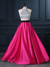 Hot Pink Satin Lace Up Scoop Sleeveless Floor Length Evening Dress Ruching