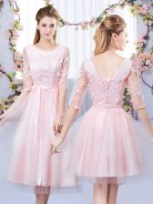 Tulle Scoop Half Sleeves Lace Up Lace and Belt Dama Dress in Baby Pink