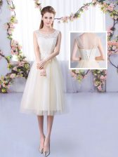 Champagne Empire Scoop Sleeveless Tulle Tea Length Lace Up Lace Damas Dress