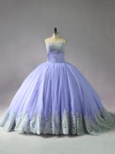 Gorgeous Ball Gowns Sleeveless Lavender Sweet 16 Dresses Court Train Lace Up