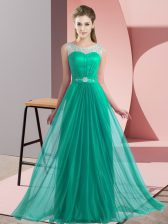 Floor Length Empire Sleeveless Turquoise Court Dresses for Sweet 16 Lace Up