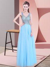 Sleeveless Floor Length Beading Zipper Prom Dresses with Baby Blue