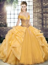 Simple Organza Off The Shoulder Sleeveless Lace Up Beading and Ruffles Vestidos de Quinceanera in Gold