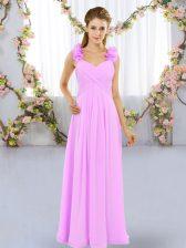 Latest Lilac Chiffon Lace Up Dama Dress Sleeveless Floor Length Hand Made Flower