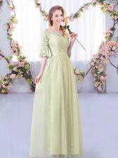 Attractive Lace and Belt Dama Dress for Quinceanera Yellow Green Side Zipper Half Sleeves Floor Length