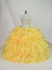 Fine Organza Sleeveless Floor Length Quinceanera Gown and Beading and Ruffles