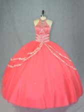 Best Watermelon Red Ball Gowns Beading and Ruffles Sweet 16 Dresses Lace Up Tulle Sleeveless Floor Length