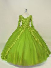Wonderful Tulle V-neck Long Sleeves Side Zipper Lace and Appliques Quinceanera Dresses in Olive Green