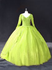Fabulous Yellow Green Long Sleeves Lace and Appliques Floor Length Quince Ball Gowns