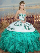 Sleeveless Organza Floor Length Lace Up Sweet 16 Quinceanera Dress in Turquoise with Embroidery and Ruffles and Bowknot