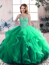 Exceptional Green Scoop Lace Up Beading and Ruffles 15 Quinceanera Dress Sleeveless