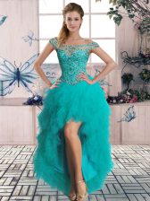 Deluxe Turquoise Lace Up Beading and Ruffles Sleeveless High Low