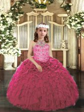 Pretty Hot Pink Ball Gowns Beading and Ruffles Little Girls Pageant Gowns Lace Up Tulle Sleeveless Floor Length