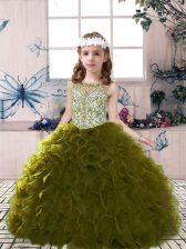 Stunning Olive Green Ball Gowns Beading and Ruffles Pageant Dress Wholesale Lace Up Tulle Sleeveless Floor Length