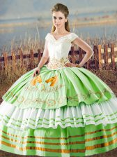 Cute Lace Up V-neck Embroidery and Ruffled Layers 15 Quinceanera Dress Satin Sleeveless