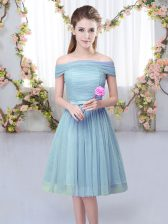 Exceptional Short Sleeves Knee Length Belt Lace Up Dama Dress with Blue