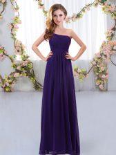 High Class Purple Empire One Shoulder Sleeveless Chiffon Floor Length Zipper Ruching Vestidos de Damas